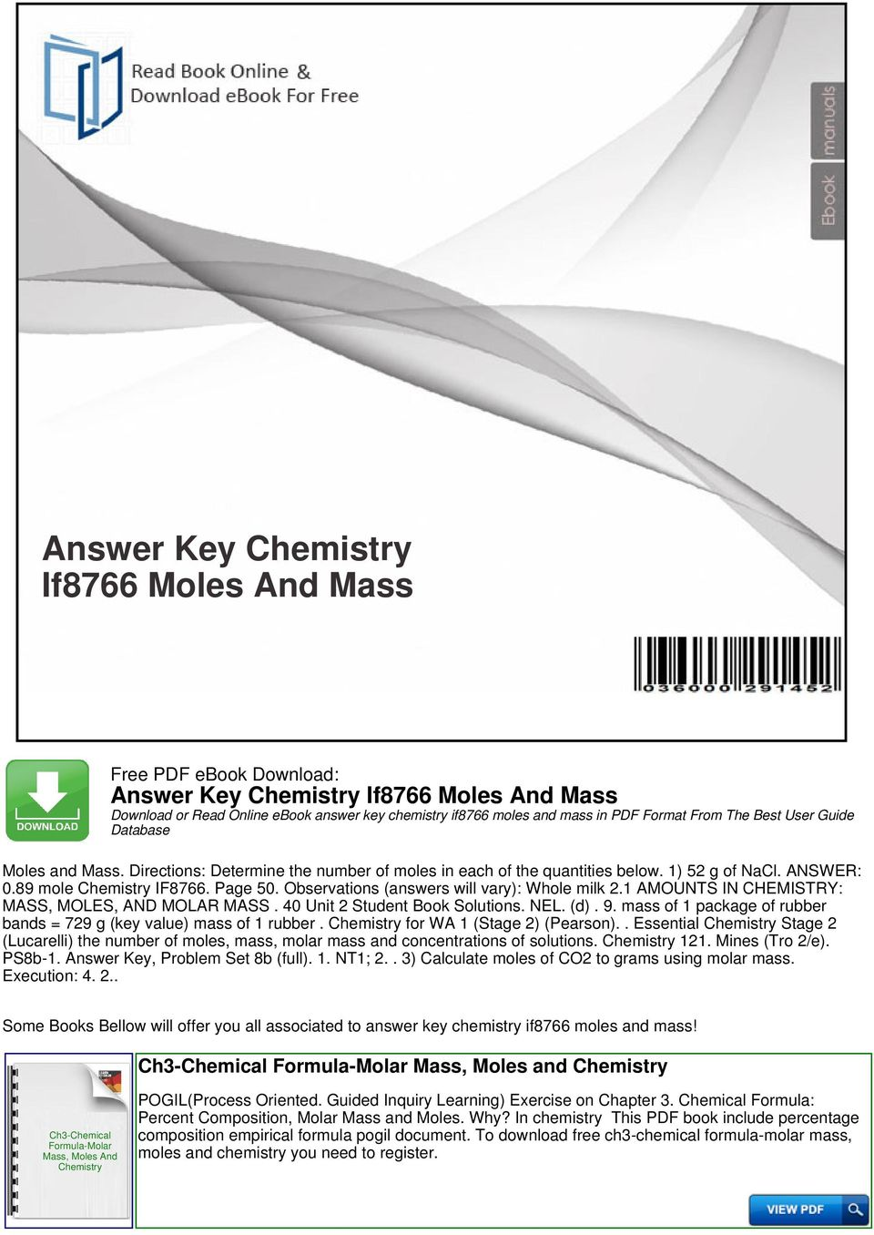 Answer Key Chemistry If8766 Moles And Mass - PDF