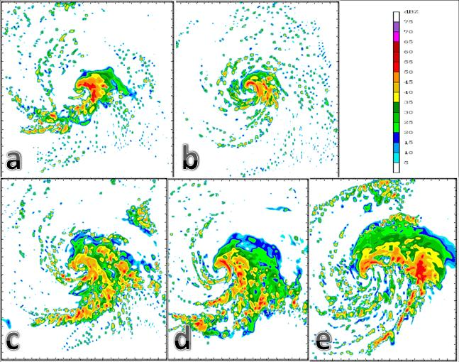 4.2 Eyewall Development Radar images every 6 hours from 120 hours of model output are used for observing how the size and structure of the tropical depression changed during intensification.