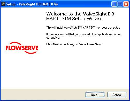 Flowserve ValveSight DTM installation instructions for the D3 HART
