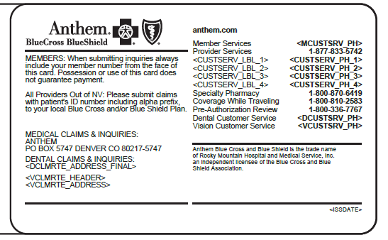 Anthem Blue Cross and Blue Shield Provider and Facility