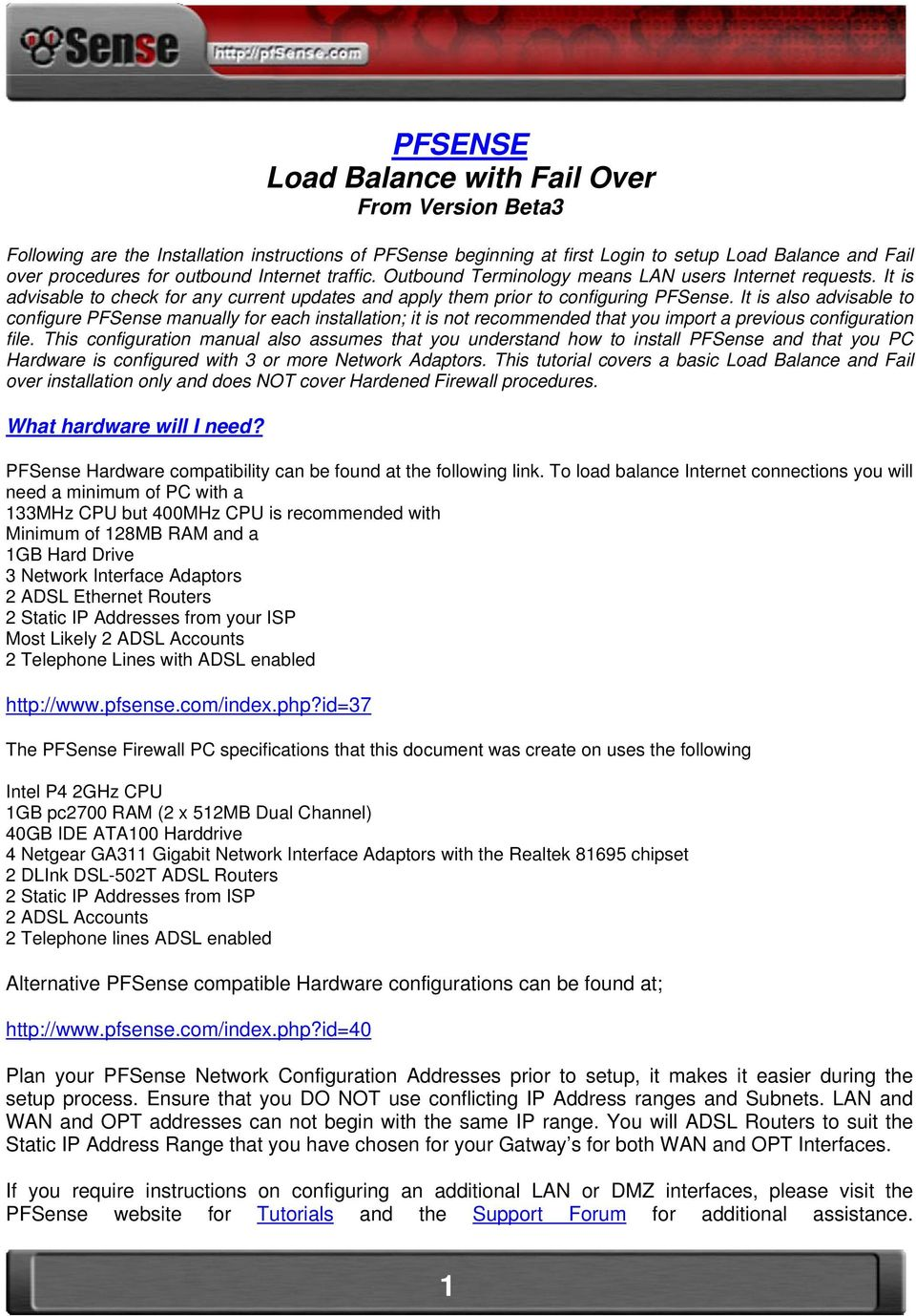 PFSENSE Load Balance with Fail Over From Version Beta3 - PDF