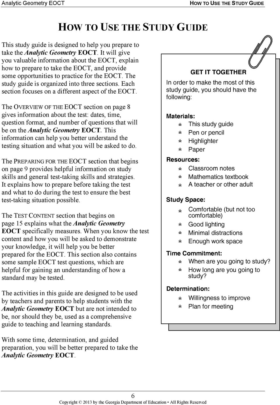 analytic geometry study guide georgia end of course tests pdf rh docplayer net Fraction Study Guide Fraction Study Guide