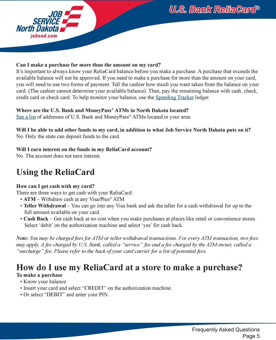 Us Bank Reliacard Replacement Card