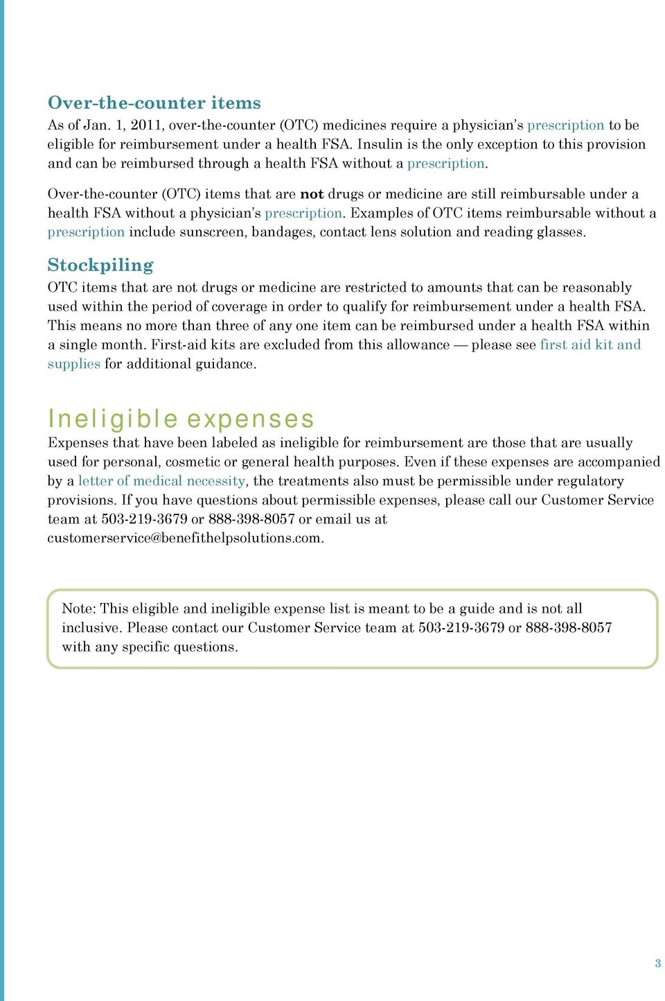 Eligible and ineligible expenses - PDF