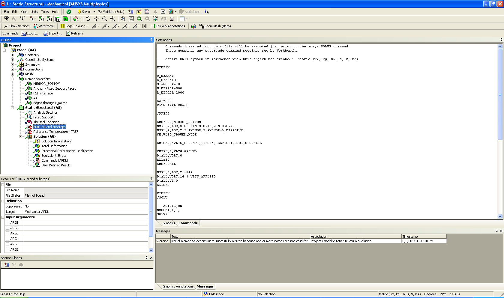 TRANS126 EMT Elements EMTGEN Macro TRANS126 elements are generated using the EMTGEN macro. Requires MAPDL commands; entered by inserting a Command Snippet in the Static Structural Analysis.