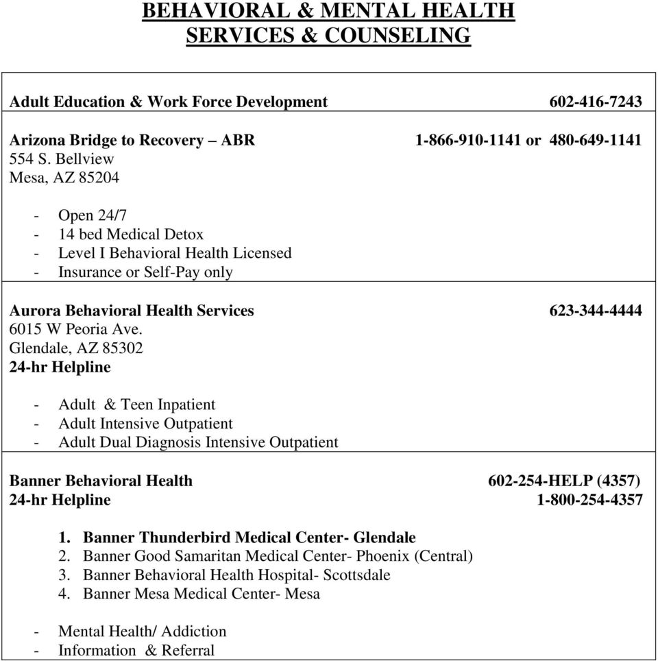 Behavioral Mental Health Services Counseling Pdf