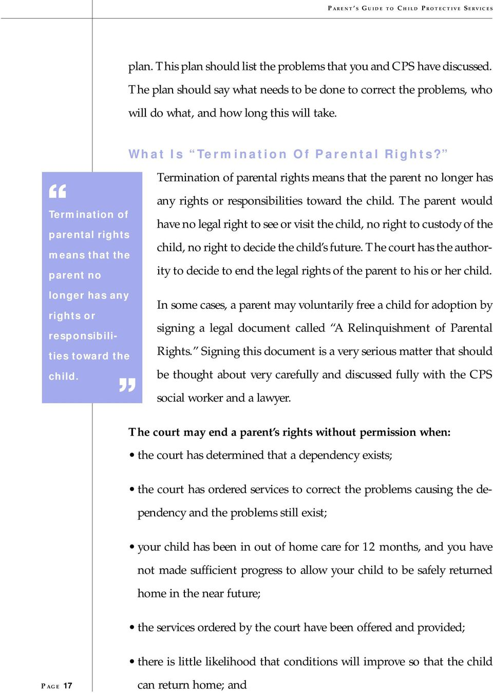 Parent s Guide  to Child Protective Services (CPS) Children s