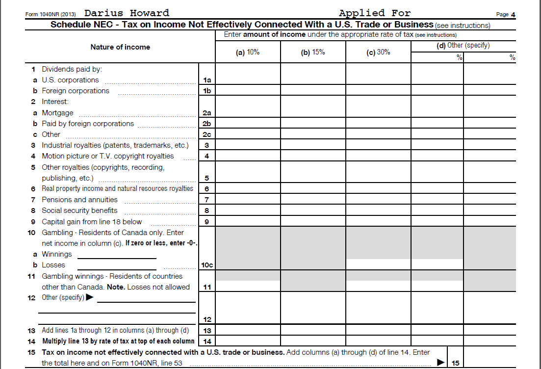 Filing Form 1040NR: Taxpayer Elections, Income and Deduction