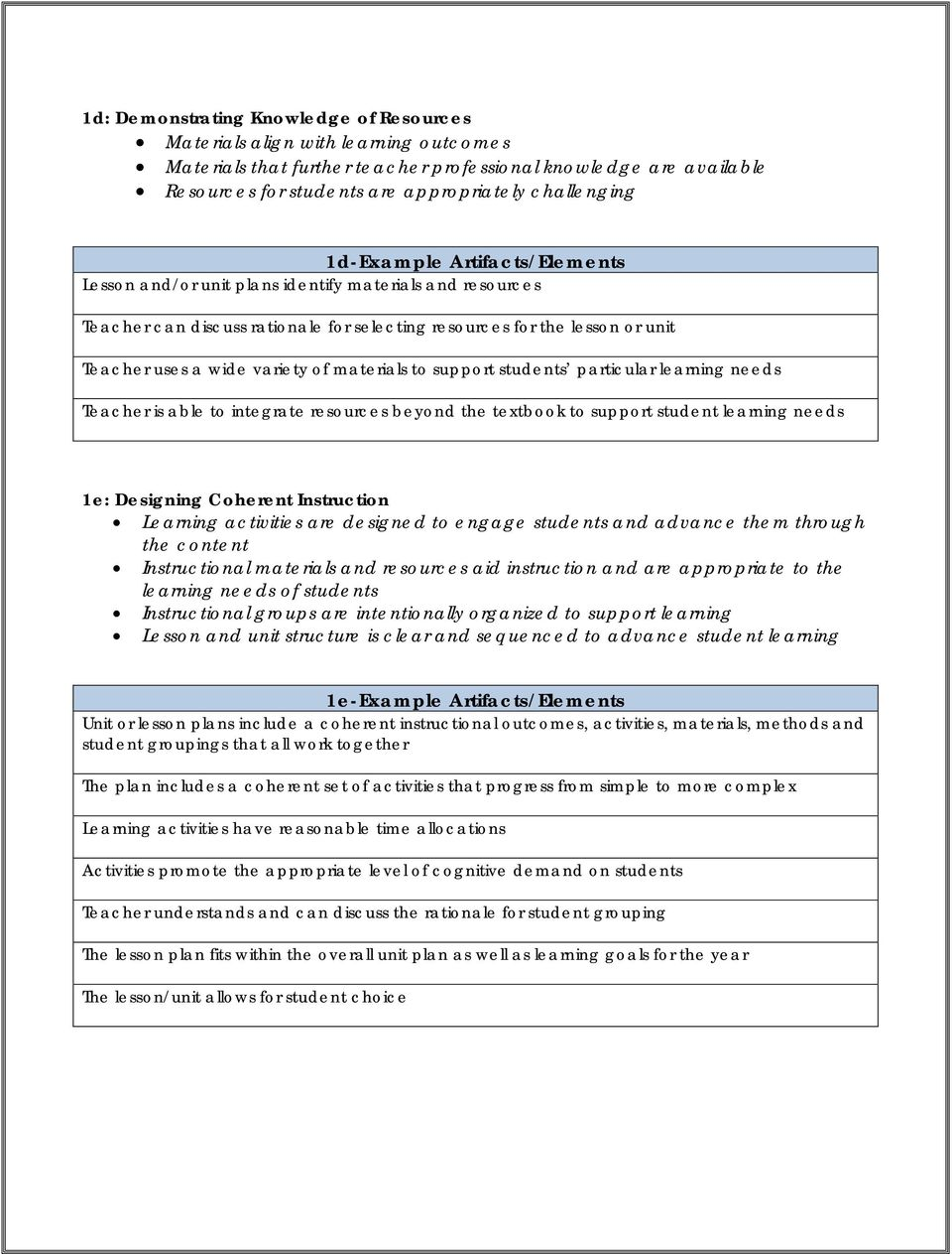 Danielson Framework Example Artifacts Elements Domain 1 Planning And Preparation And Domain 4 Professional Responsibilities Pdf Free Download