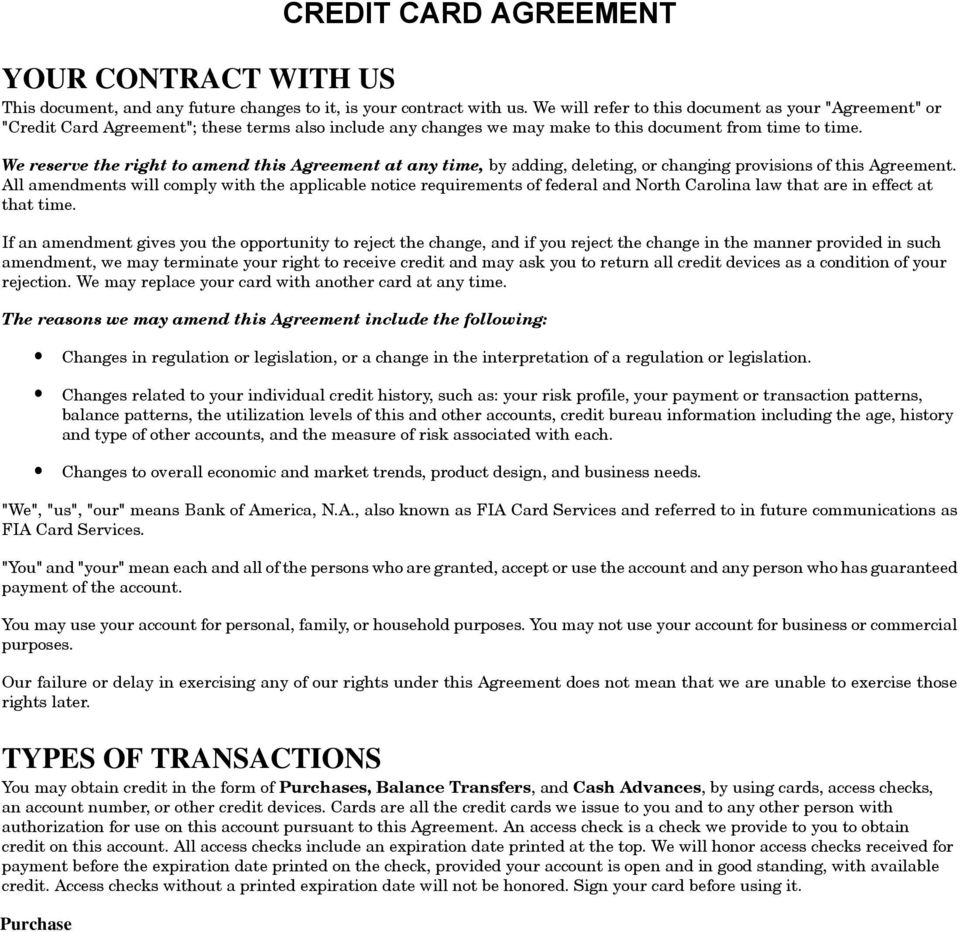 Example Of Credit Card Agreement For Bank Of America Visa Signature