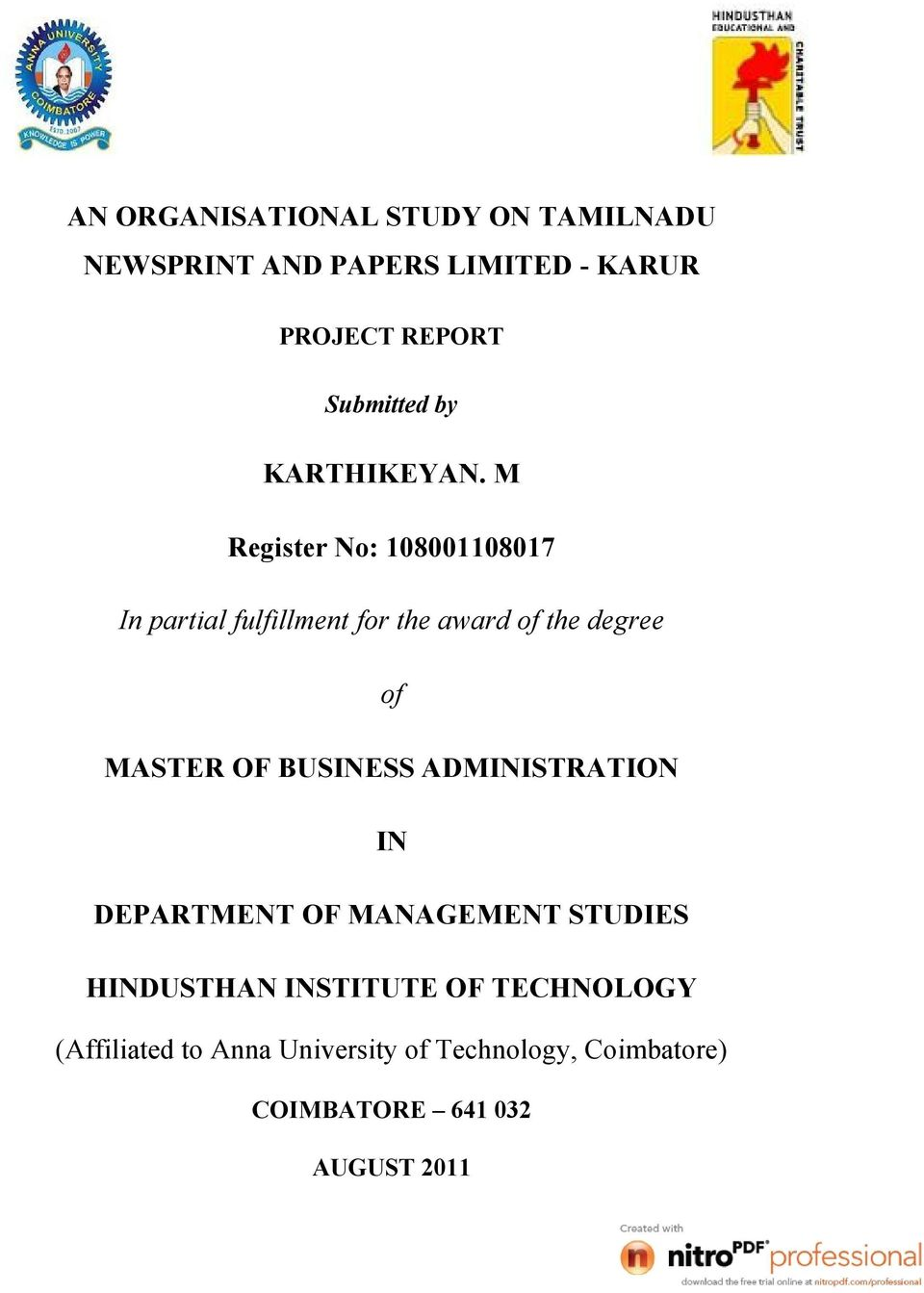 AN ORGANISATIONAL STUDY ON TAMILNADU NEWSPRINT AND PAPERS LIMITED