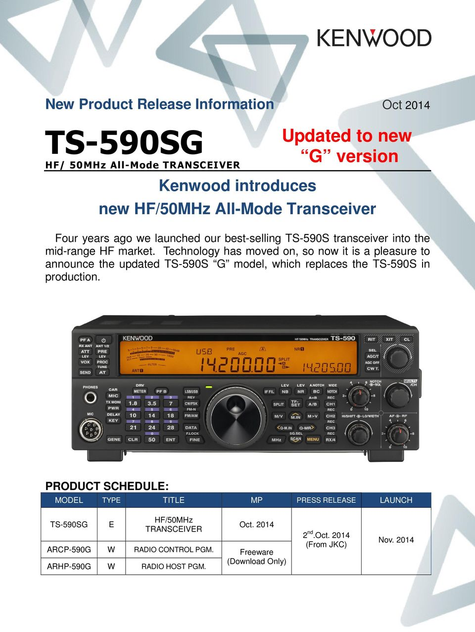 Kenwood introduces  new HF/50MHz All-Mode Transceiver - PDF