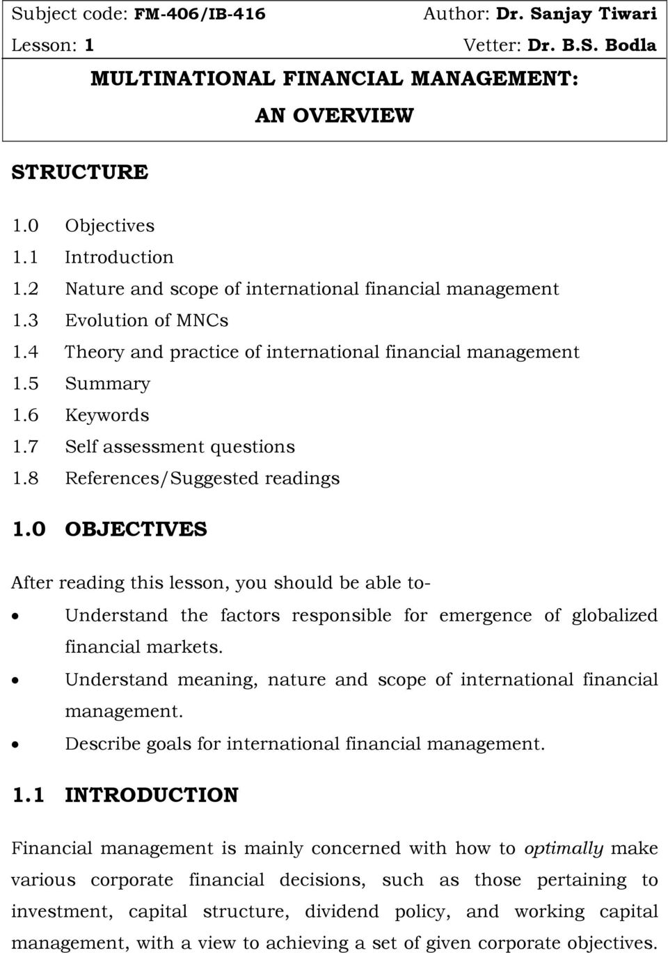 Goals and objectives of financial management