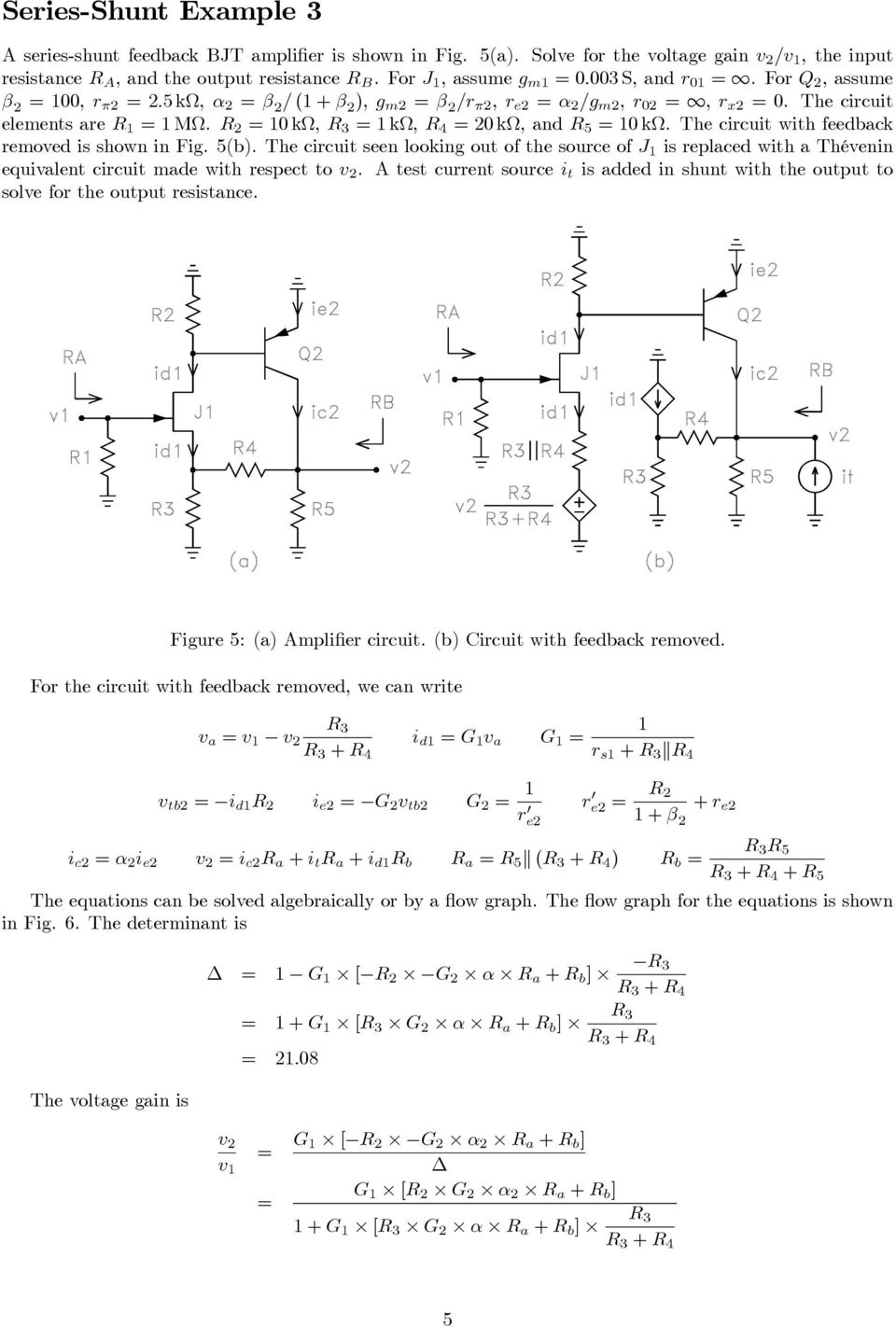 Collection Of Solved Feedback Amplifier Problems Pdf Thevenin Voltage Numerical Example Norton Equivalent The Circuit With Removed Is Shown In Fig 5b