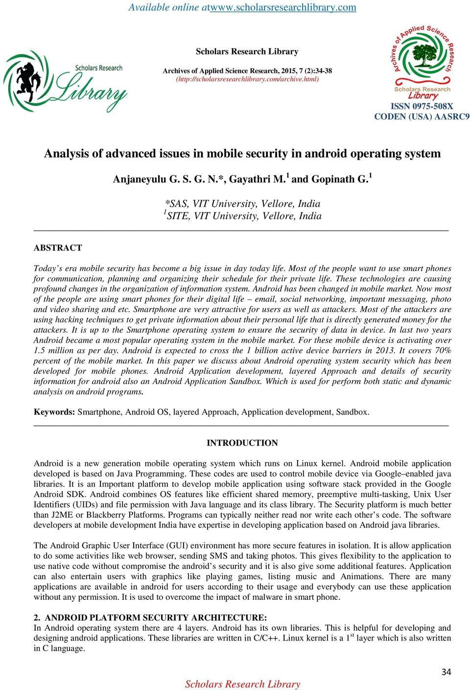 Analysis of advanced issues in mobile security in android