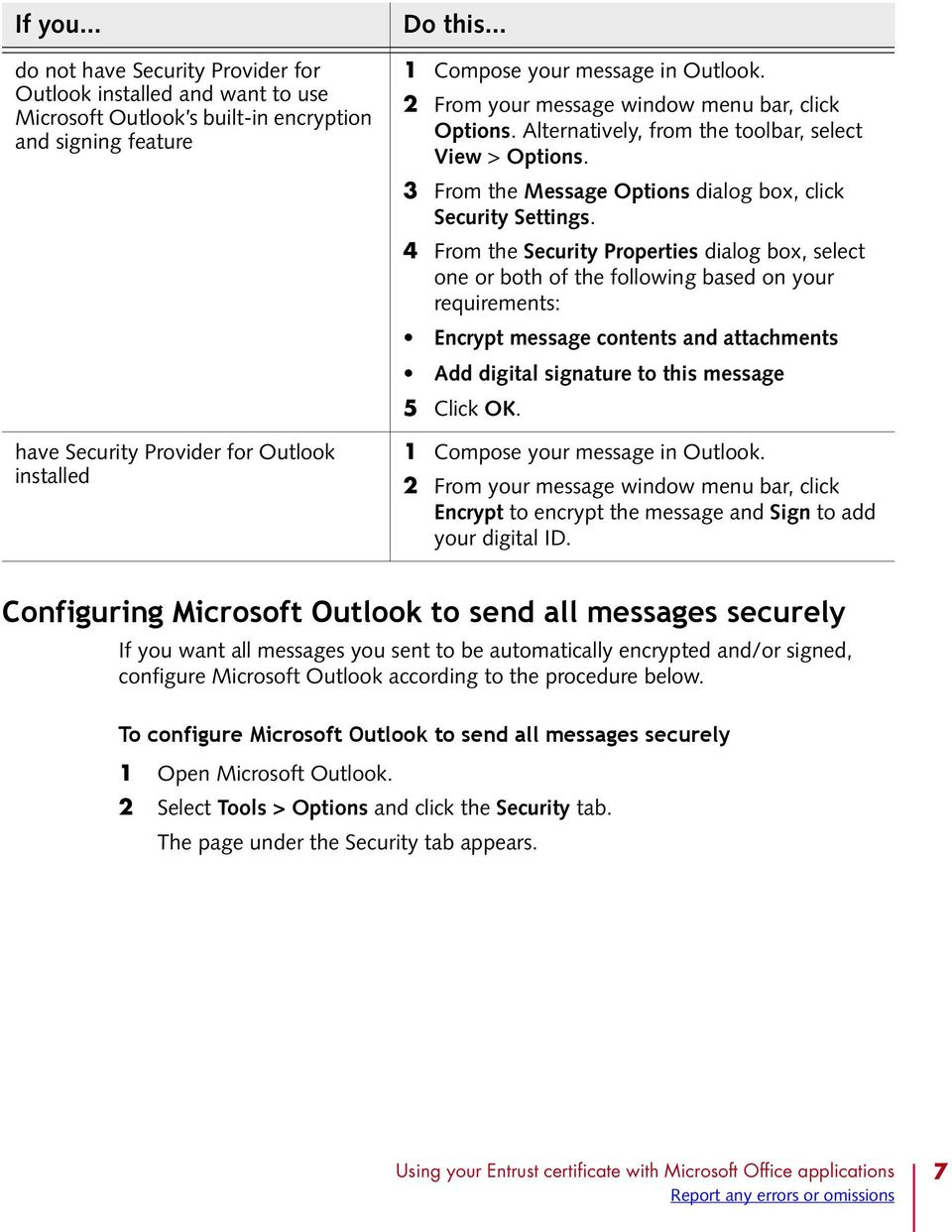 3 From the Message Options dialog box, click Security Settings.