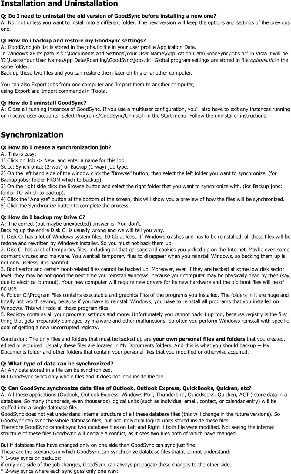 GoodSync Frequently Asked Questions Siber Systems, Inc  Copyright - PDF