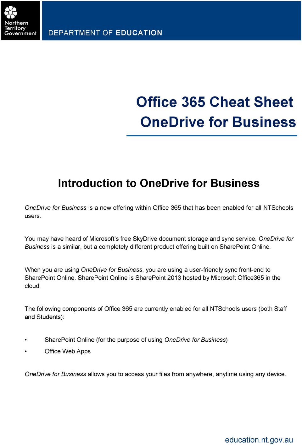 Office 365 Cheat Sheet OneDrive for Business - PDF