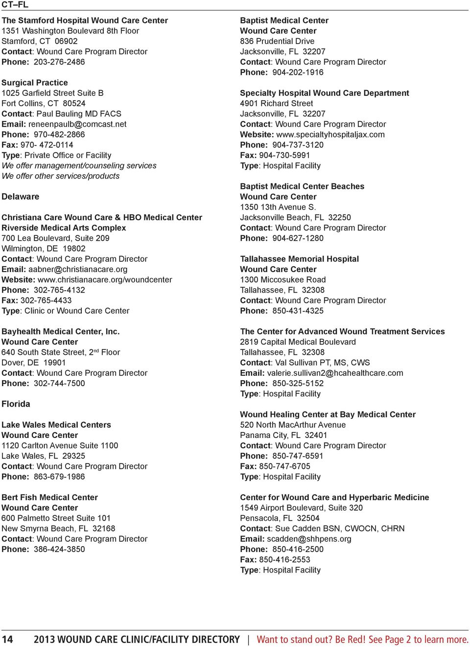 2013 Wound Care Clinic/Facility Directory - PDF