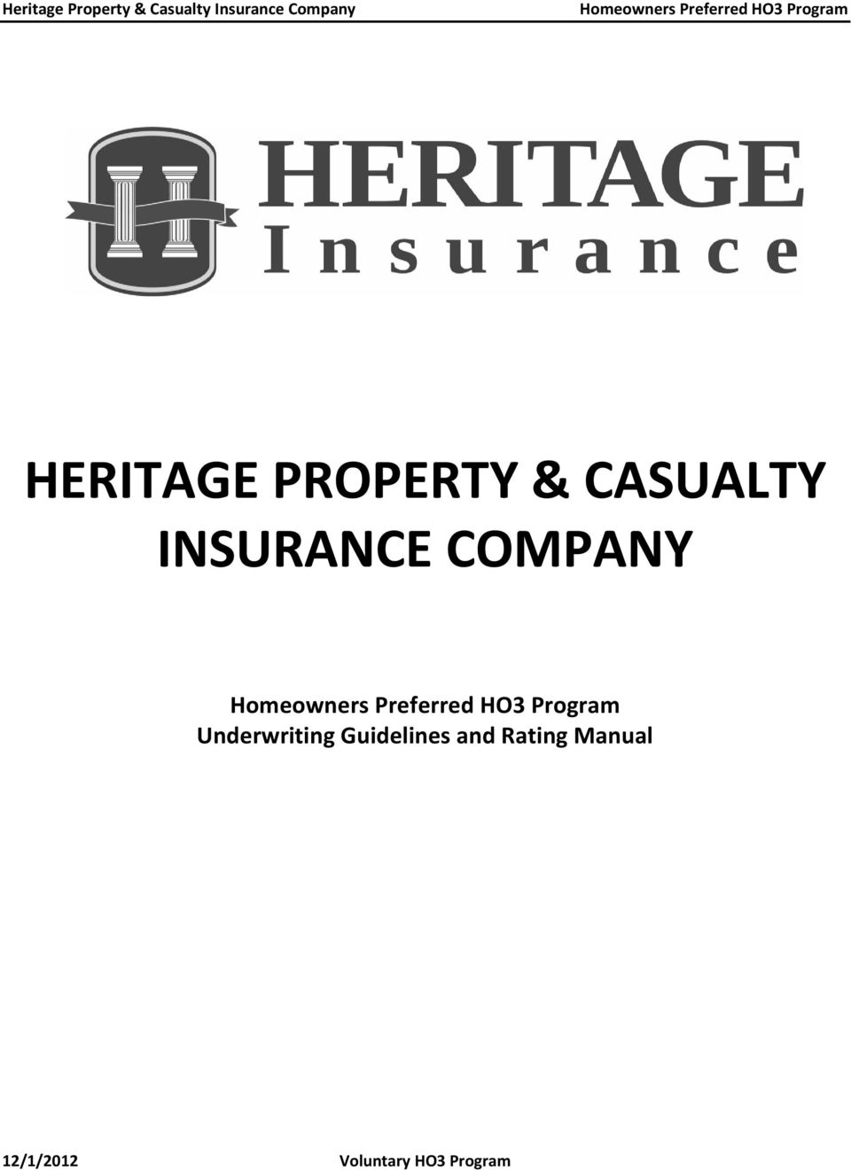 Heritage Property Casualty Insurance Company Pdf