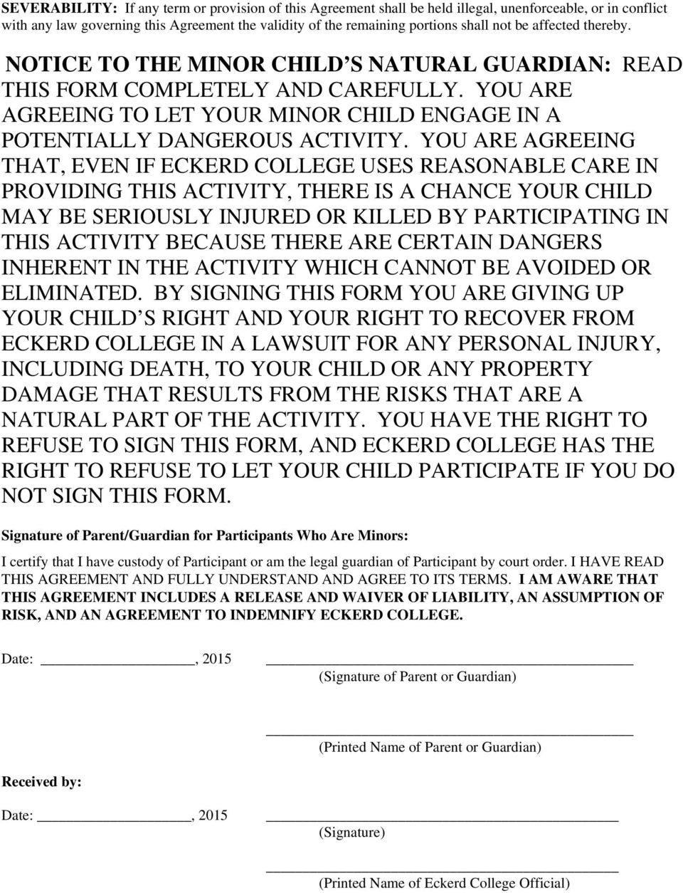 Participant Agreement Release And Waiver Of Liability Assumption Of