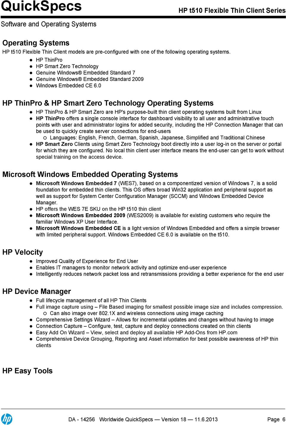 QuickSpecs  HP t510 Flexible Thin Client Series  Overview - PDF