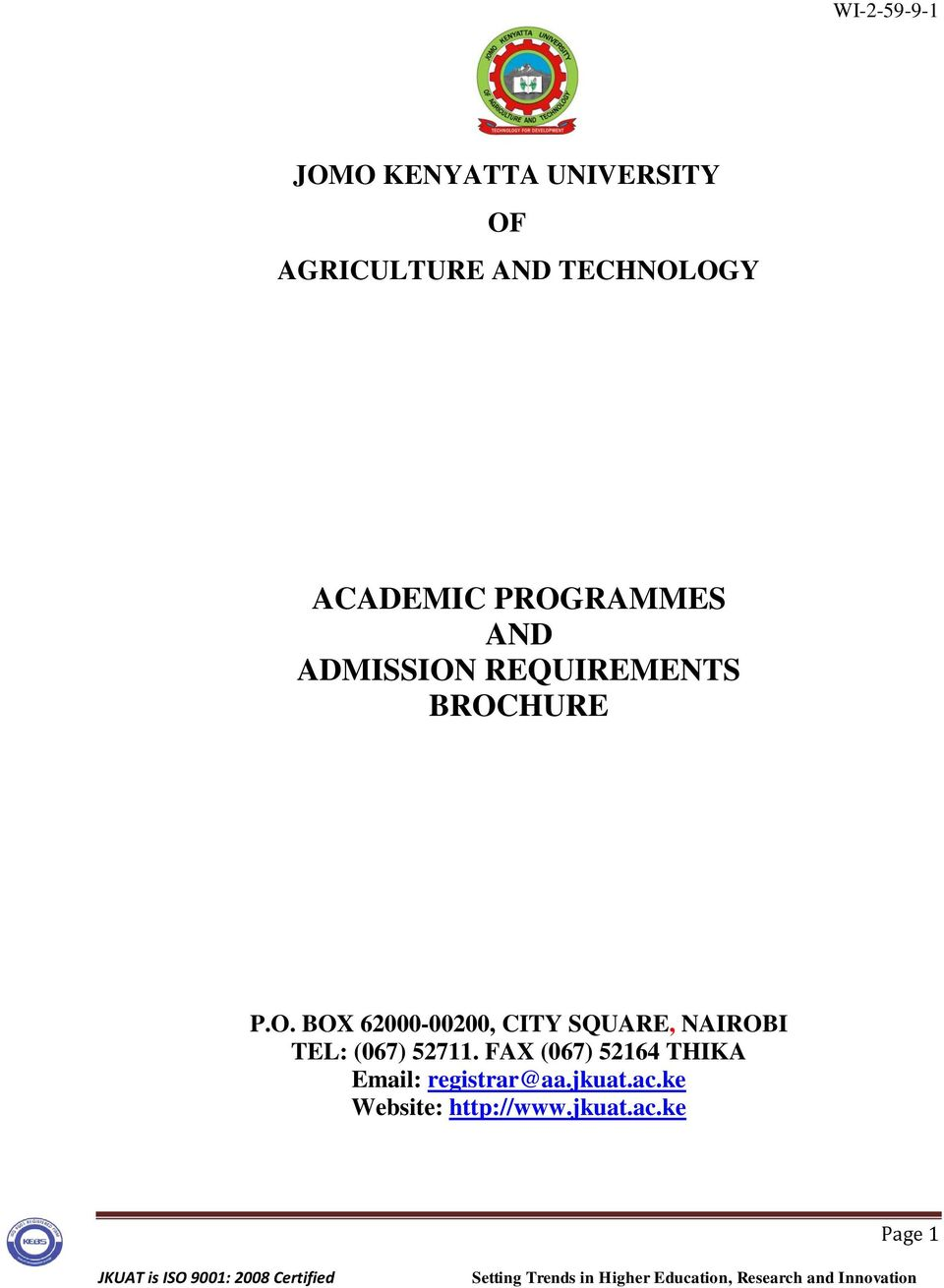 ACADEMIC PROGRAMMES AND ADMISSION REQUIREMENTS BROCHURE - PDF