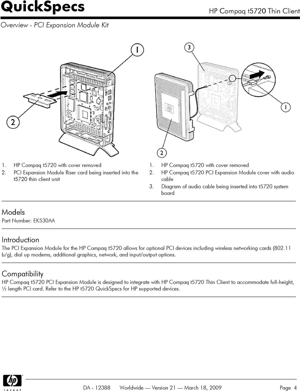 Hp Compaq T5720 Thin Client Overview Without Pci Expansion Module Pdf Pc Wiring Diagram Of Audio Cable Being Inserted Into System Board Models Part Number Ek530aa Introduction