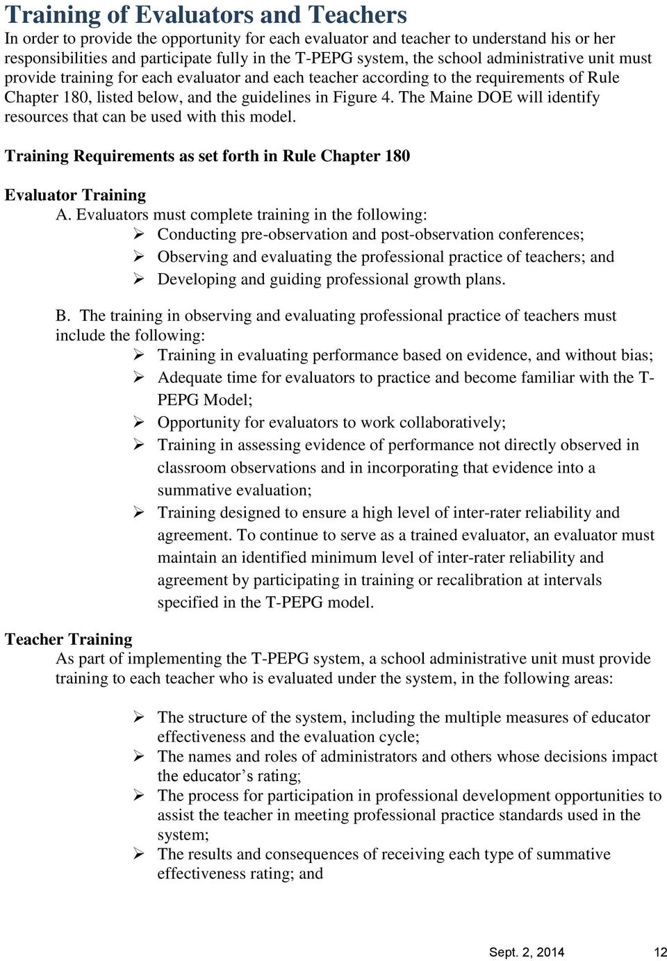 Maine Doe Teacher Performance Evaluation And Professional Growth