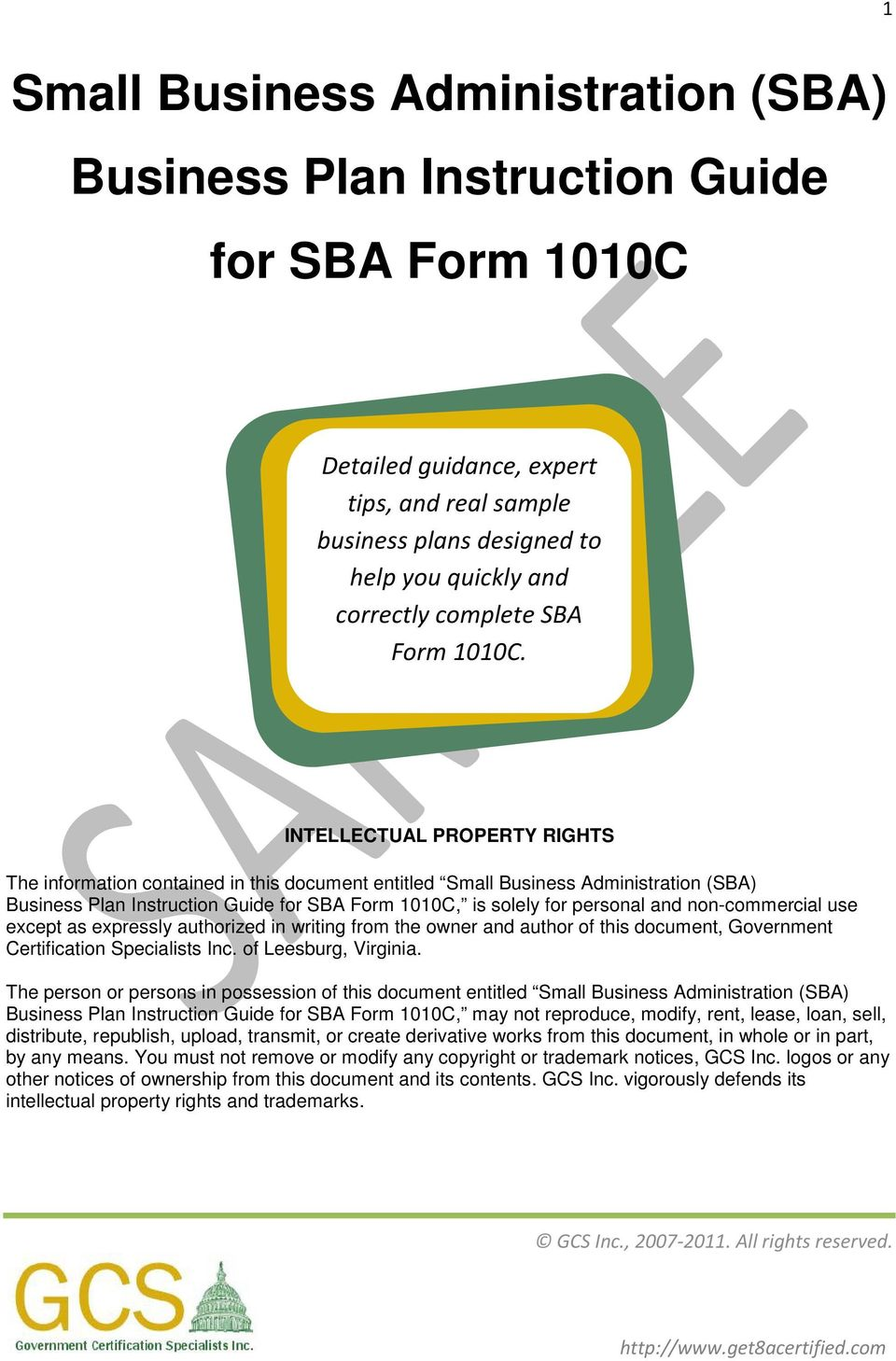 sba business plan form 1010c