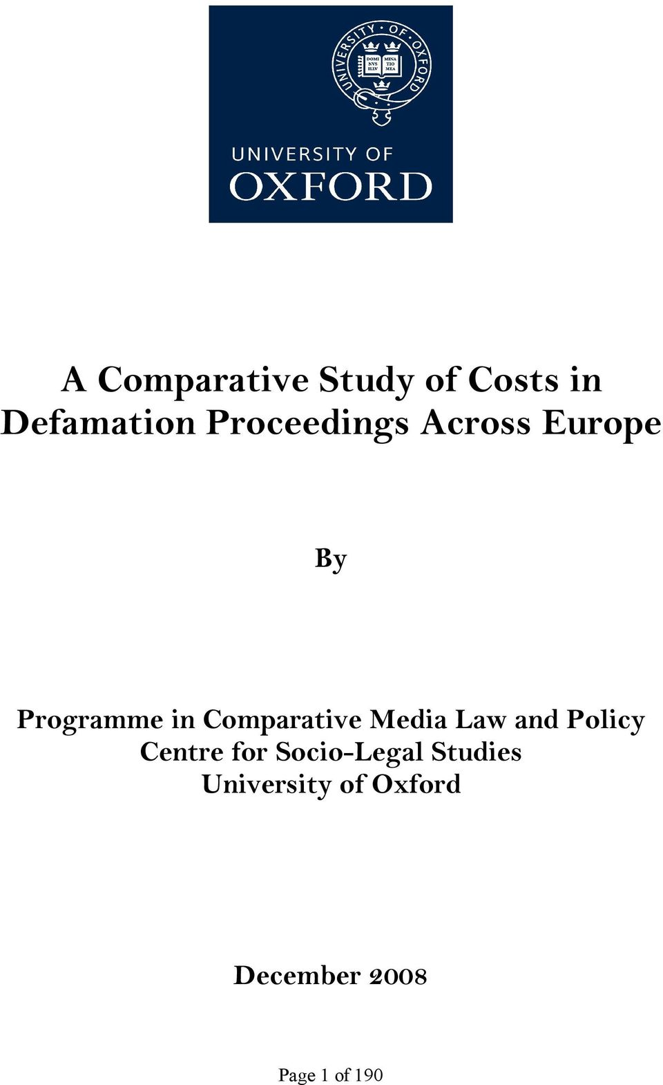 Comparative Media Law and Policy Centre for