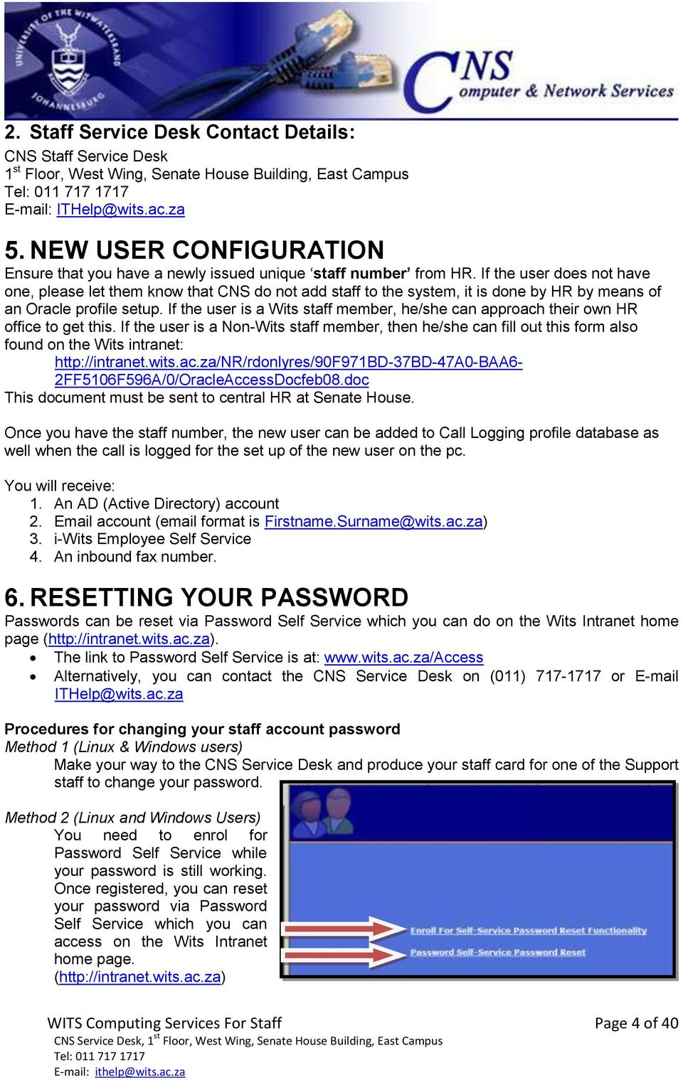 Wits Computing Services For Staff Page 1 Of 40 Cns Service Desk 1 St Floor West Wing Senate House Building East Campus Tel Pdf Free Download