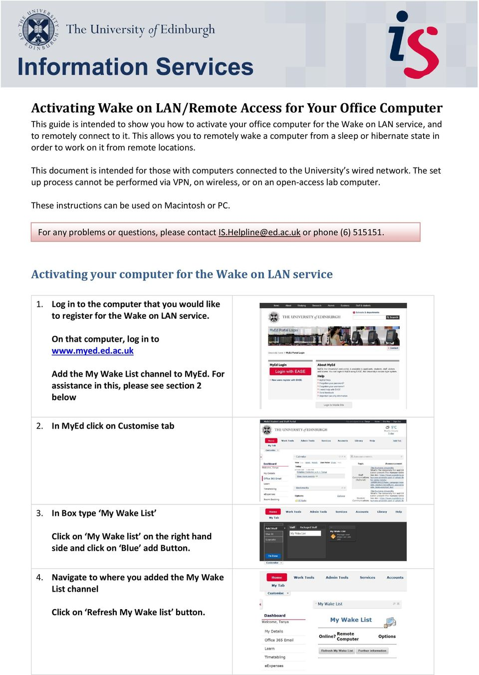 Activating Wake on LAN/Remote Access for Your Office