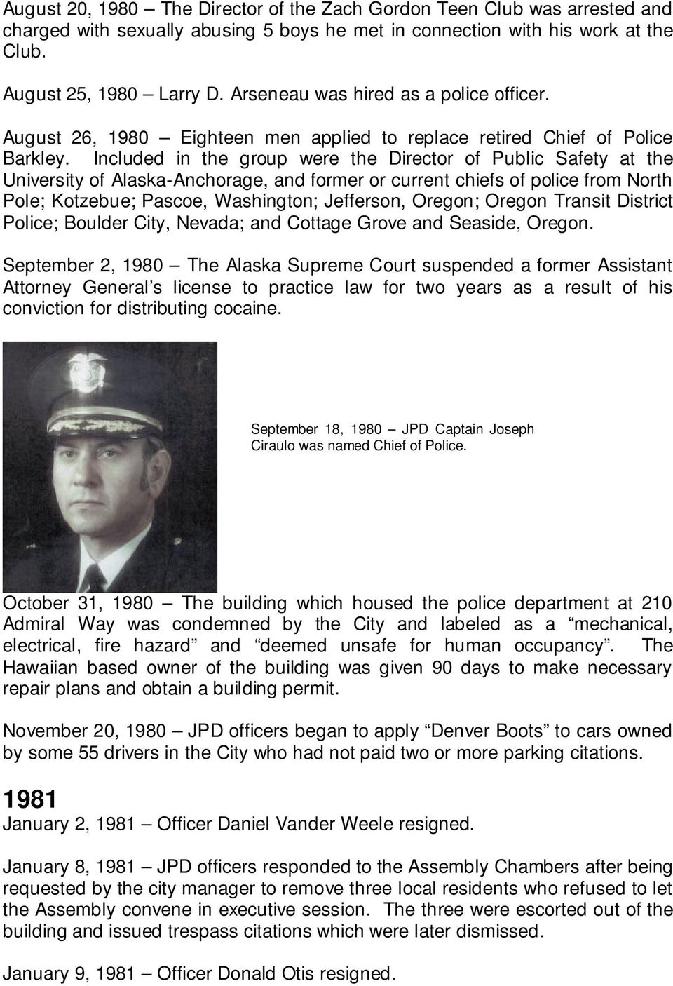 Juneau Police Department History Photos from the Alaska