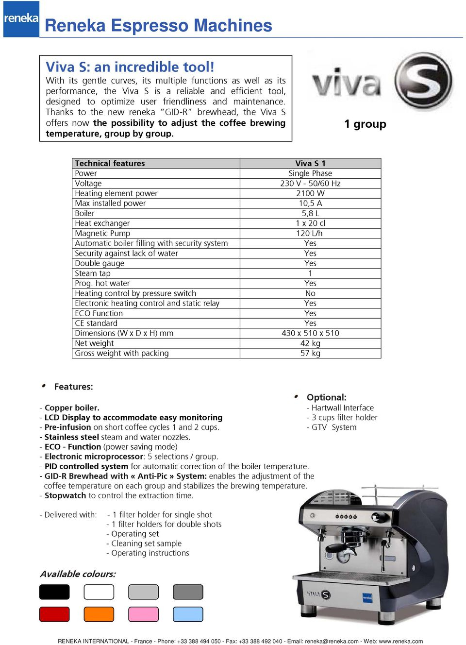 Reneka Espresso Machines 2009 Range Pdf How Do You Adjust The Pressure Switch On A Well Pump Thanks To New Gid R Brewhead Viva S Offers Now