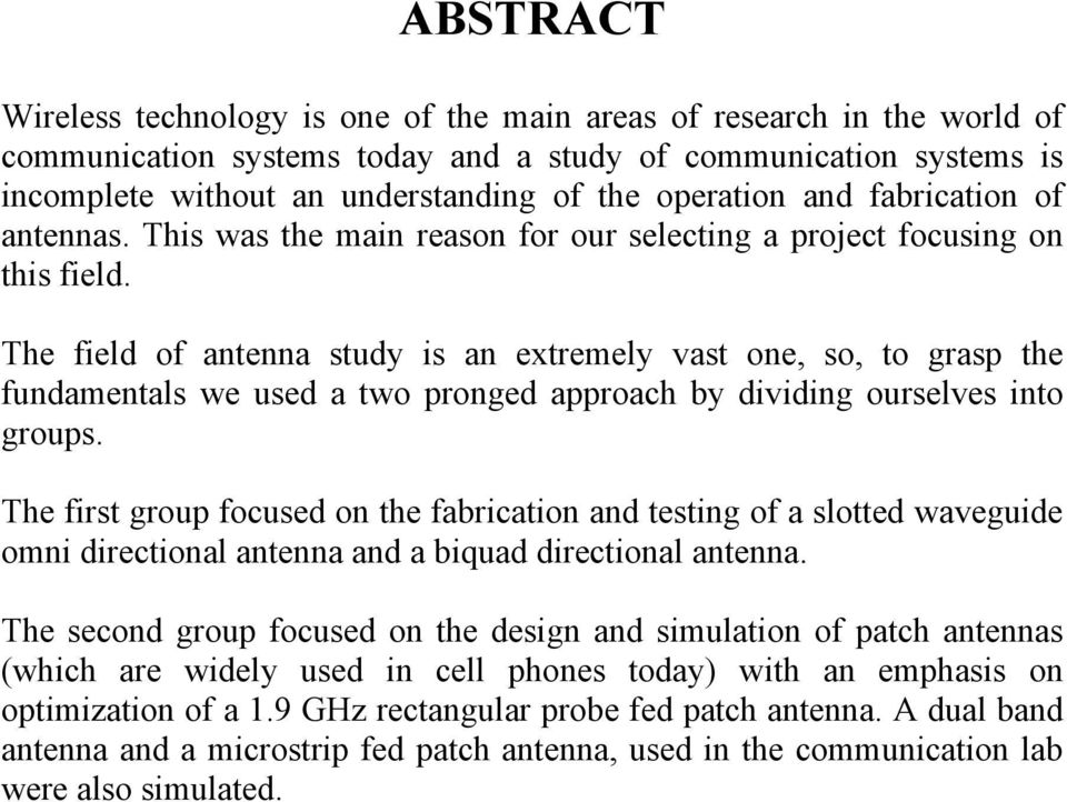 PROJECT REPORT ANTENNA DESIGN, SIMULATION AND FABRICATION - PDF