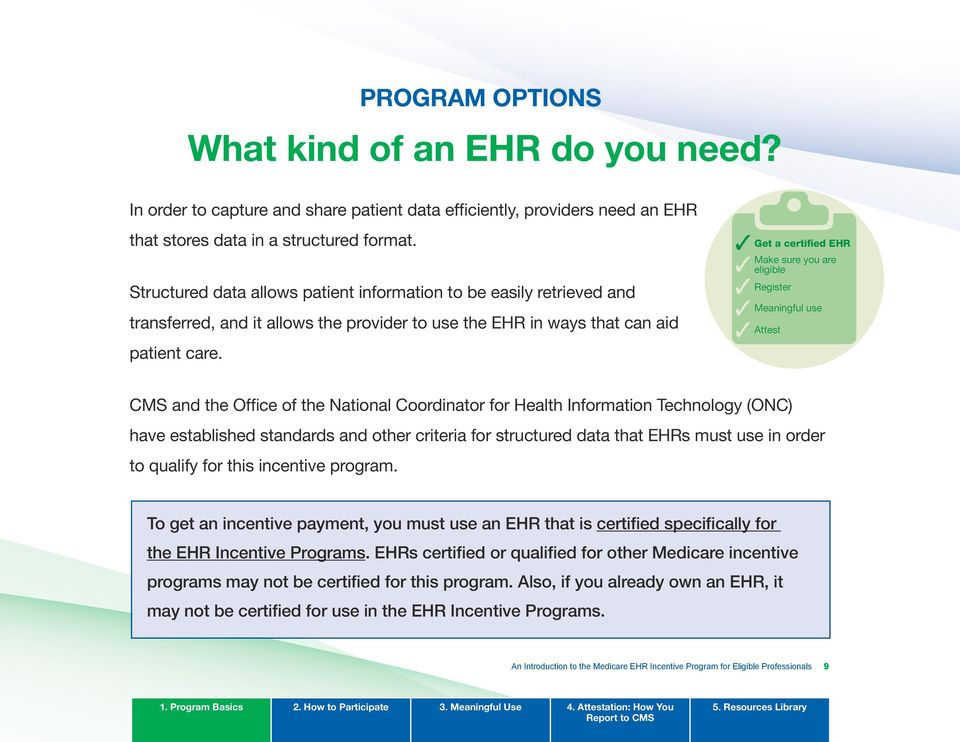 Get a certified EHR Make sure you are eligible Register Meaningful use Attest CMS and the Office of the National Coordinator for Health Information Technology (ONC) have established standards and