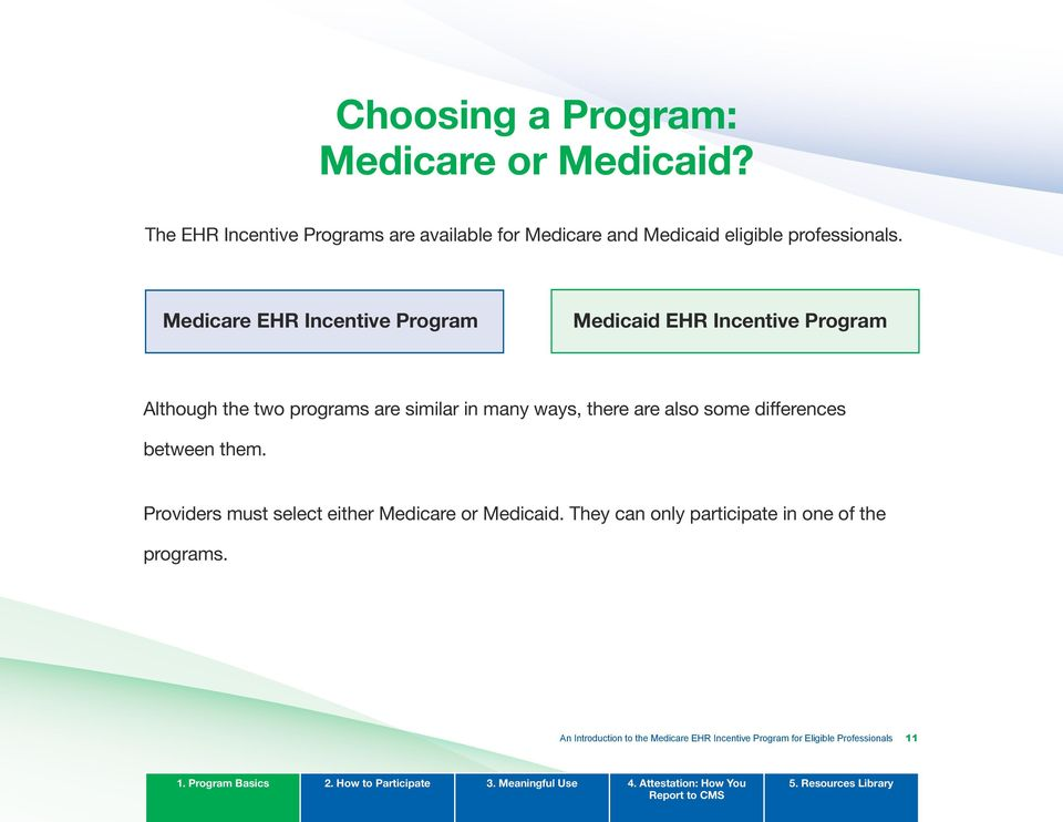 Medicare EHR Incentive Program Medicaid EHR Incentive Program Although the two programs are similar in many ways, there