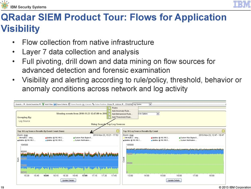 mining on flow sources for advanced detection and forensic examination Visibility and