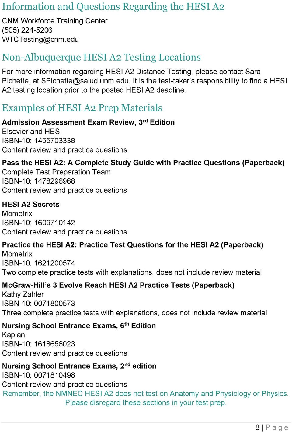 graphic regarding Hesi A2 Practice Test Printable identified as The College of Clean Mexico Faculty of Nursing - PDF