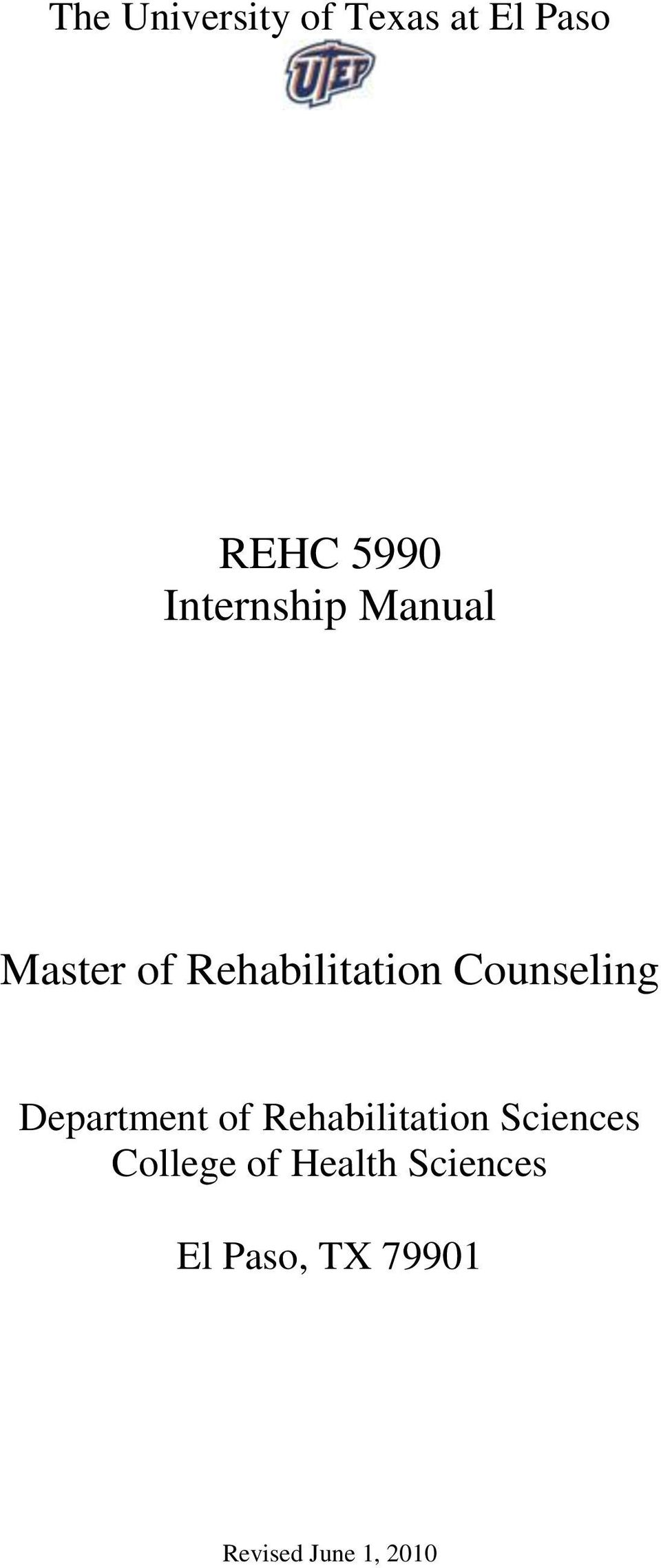 Counseling Department of Rehabilitation Sciences