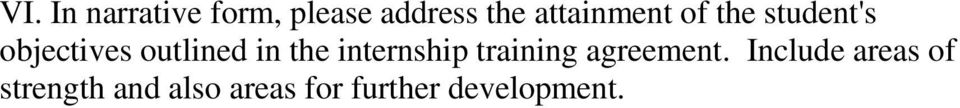 in the internship training agreement.