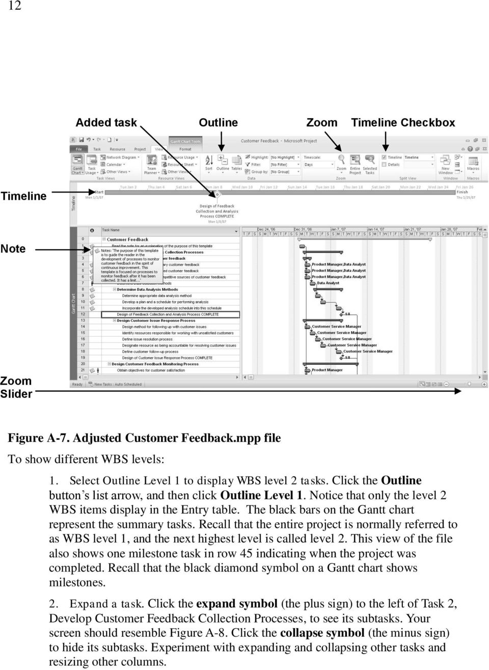 The black bars on the Gantt chart represent the summary tasks. Recall that the entire project is normally referred to as WBS level 1, and the next highest level is called level 2.