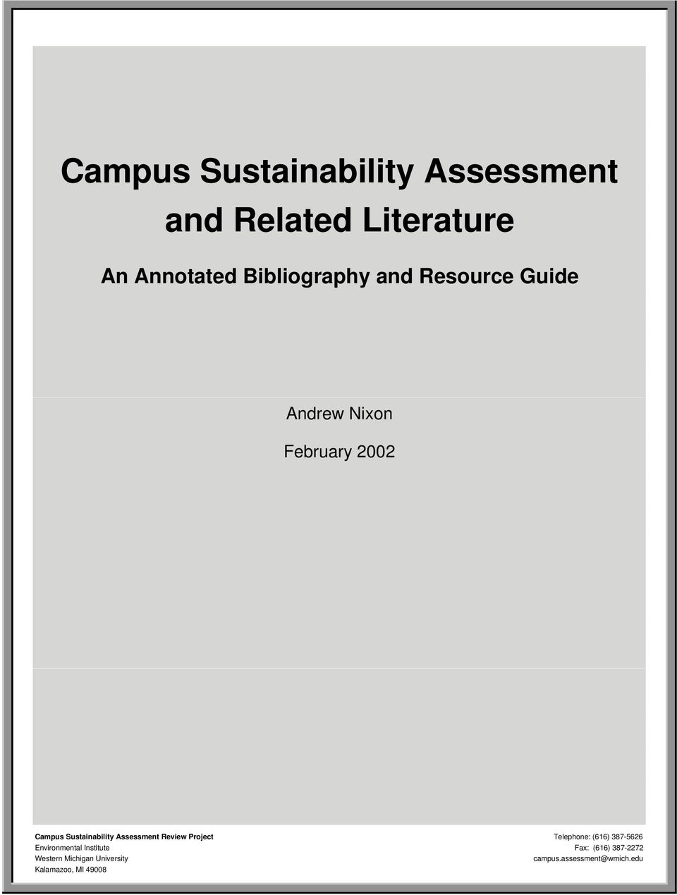 Campus Sustainability Assessment And Related Literature Pdf