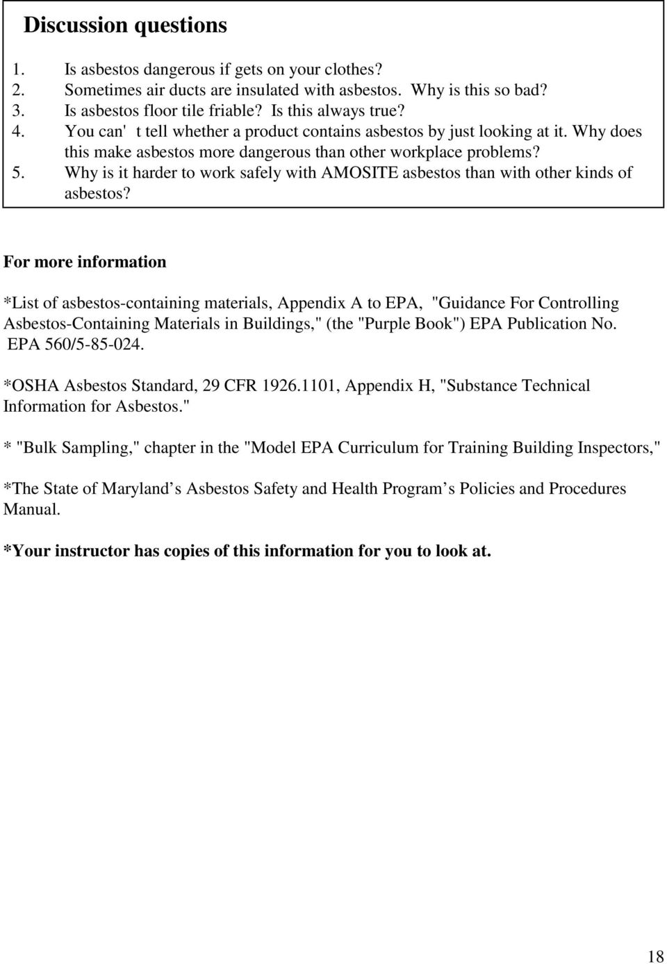 Epa Model Asbestos Supervisor Training Manual Revised By State