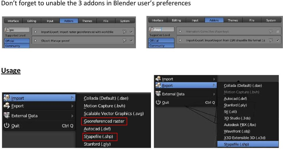 Blender addons ESRI Shapefile import/export and