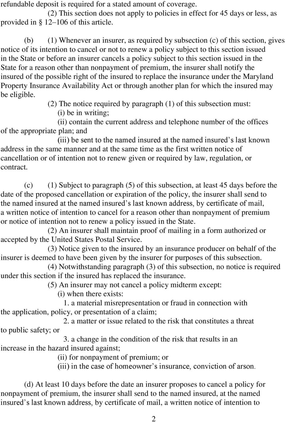 MARYLAND LAWS AND REGULATIONS ON NON-RENEWAL/CANCELLATION OF