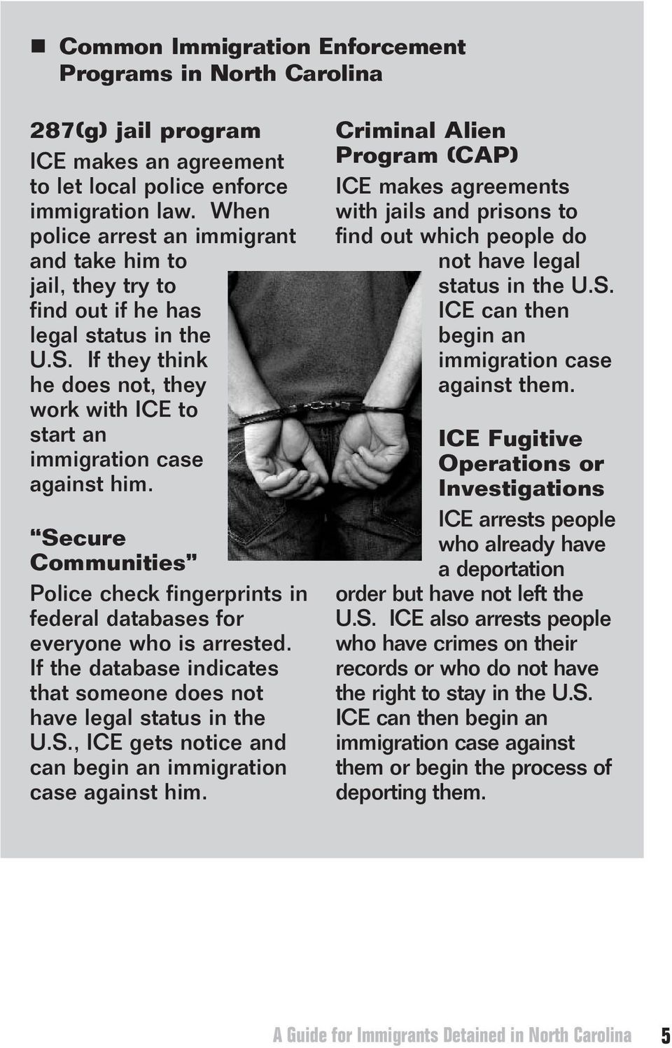 Picked Up A Guide for Immigrants Detained in North Carolina - PDF