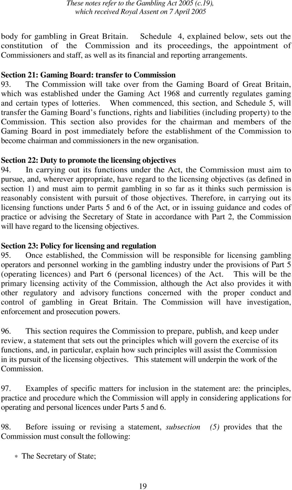Section 21: Gaming Board: transfer to Commission 93.