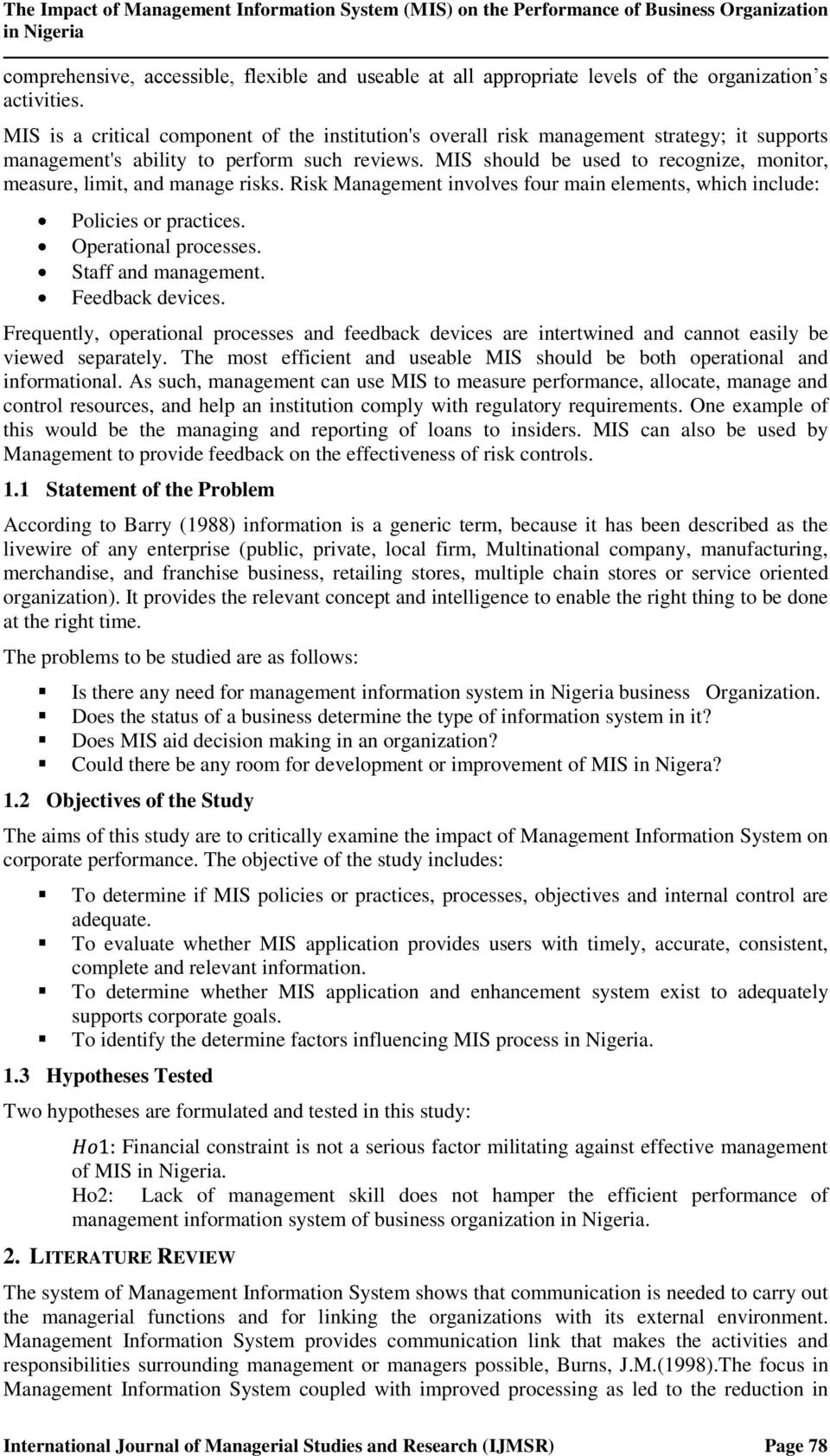 literature review on management information system